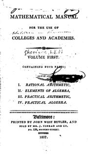 Cover of: Mathematical Manual for the Use of Colleges and Academies by L. I. M. Chevigné