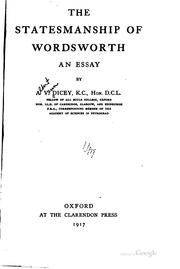 Cover of: The Statesmanship of Wordsworth: An Essay by Albert Venn Dicey