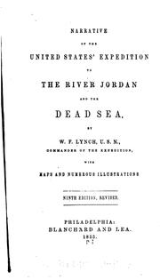 Cover of: Narrative of the United States' Expedition to the River Jordan and the Dead Sea by William Francis Lynch