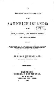 Cover of: A Residence of Twenty-one Years in the Sandwich Islands by Hiram Bingham