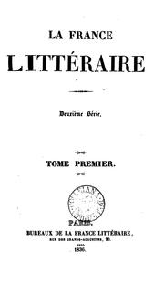 Cover of: la france litteraire by tome premier