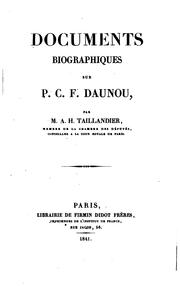 Cover of: Documents biographiques sur P.C.F. Daunou by Alphonse-Honoré Taillandier