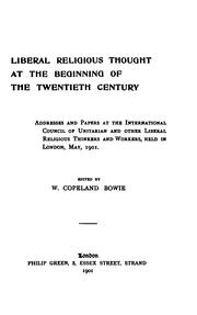 Cover of: Liberal Religious Thought at the Beginning of the Twentieth Century by W. Copeland Bowie