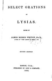 Cover of: Select orations of Lysias by Lysias.
