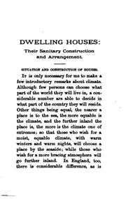 Cover of: Dwelling Houses: Their Sanitary Construction and Arrangements by William Henry Corfield