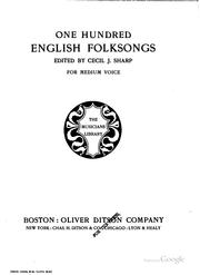 Cover of: One Hundred English Folksongs | Cecil James Sharp