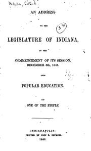 Cover of: An Address to the Legislature of Indiana | Caleb Mills