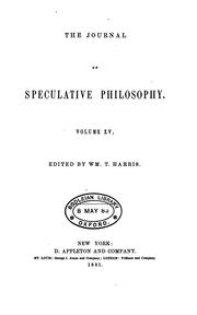 Cover of: THE JOURNAL OF SPECULATIVE PHILOSPHY by Wm. T. Harris, Edited By.