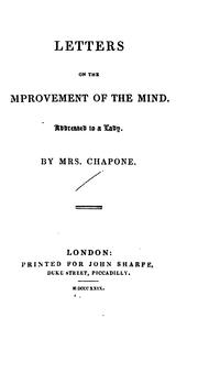 Cover of: Letters on the Improvement of the Mind by Chapone (Hester)