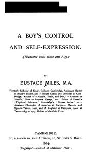 Cover of: A Boy's Control and Self-expression by Eustace Miles