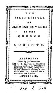 Cover of: The first epistle of Clemens Romanus to the Church at Corinth by Clement of Alexandria, Saint