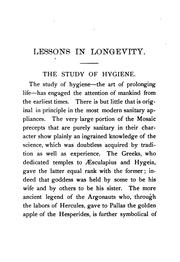 Cover of: Lessons in longevity: Paragraphs on Home Hygiene, and the Art of Prolonging Life by John Brown Hamilton