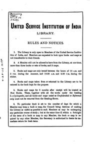 Cover of: Catalogue of the United Service Institution of India Library by United Service Institution of India Library