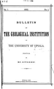 Cover of: Bulletin of the Geological Institutions of the University of Uppsala by Uppsala universitet Geologiska institutionen