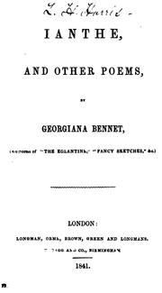 Cover of: Ianthe, and other poems by Georgiana Bennet