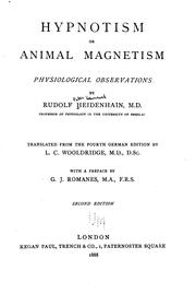 Cover of: Hypnotism Or, Animal Magnetism, Physiological Observations by Rudolf Peter Heinrich Heidenhain