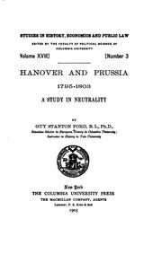 Cover of: Hanover and Prussia 1795-1803: A Study in Neutrality by Guy Stanton Ford