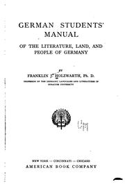Cover of: German Students' Manual of the Literature, Land, and People of Germany by Frankliln James Holzwarth