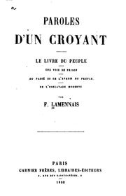 Cover of: paroles d'un croyant by f. lamennais