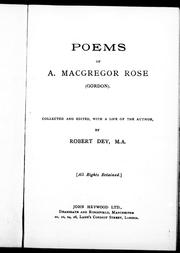 Cover of: Poems of A. Macgregor Rose (Gordon) by A. McGregor Rose