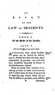Cover of: An Essay Towards the Further Elucidation of the Law of Descents by Charles Watkins