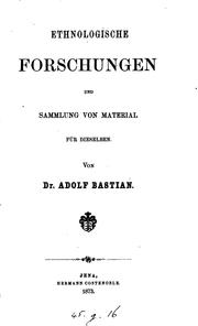 Cover of: ethnologische forschungen by Adolf Bastian