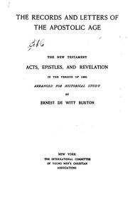 Cover of: The Records and Letters of the Apostolic Age by Ernest De Witt Burton