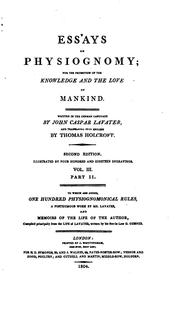 Cover of: Essays on Physiognomy: For the Promotion of the Knowledge and the Love of Mankind by Johann Caspar Lavater