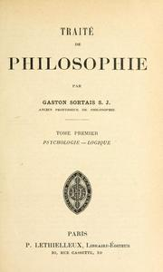 Cover of: Traité de philosophie | Gaston Sortais