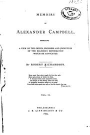 Cover of: Memoirs of Alexander Campbell by Robert Richardson