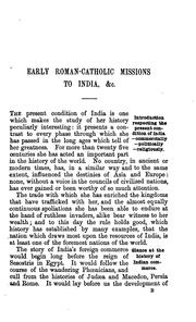 Cover of: Early Roman-catholic missions to India | James Forbes B . Tinling