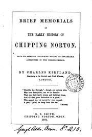 Cover of: Brief memorials of the early history of Chipping Norton by Charles Kirtland