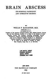 Cover of: Brain Abscess: Its Surgical Pathology and Operative Technic by Wells Phillips Eagleton
