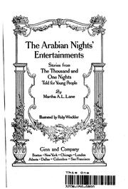 Cover of: the arabian nights entertainments by martha a. l. lane