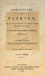 Cover of: Chronicles of fashion by Stone, Elizabeth Mrs.