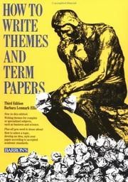 Cover of: How to write themes and term papers | Barbara Lenmark-Ellis