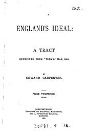 Cover of: England's Ideal: A Tract by Edward Carpenter