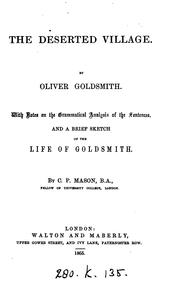 Cover of: THE DESERTED VILLAGE | OLIVER GOLDSMITH