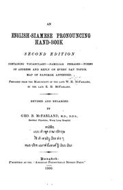 Cover of: An English-Siamese Pronouncing Hand-book | William Hays McFarland