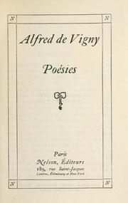 Cover of: Poems by Alfred de Vigny
