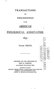Cover of: Transactions and Proceedings of the American Philological Association | American philological association