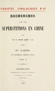 Cover of: Recherches sur les superstitions en Chine by Henri Doré
