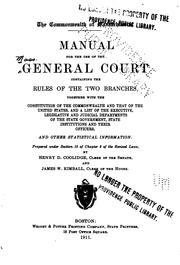 Cover of: A Manual for the Use of the General Court by Massachusetts. General Court.