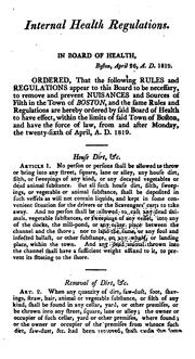 Cover of: Rules, Regulations and Orders of the Board of Health of Boston: Relative to the Police of Said Town by Boston (Mass.). Board of Health