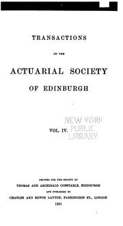 Cover of: Transactions by Actuarial Society of Edinburgh