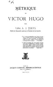 Cover of: Mėtrique de Victor Hugo by A J Theys