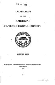 Cover of: Transactions of the American Entomological Society by American Entomological Society