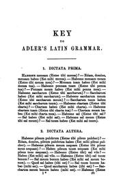 Cover of: A Key to the Exercises Contained in Adler's Practical Grammar of the Latin Language by George J. Adler