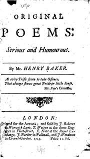 Cover of: Original Poems: Serious and Humourous by Henry Baker