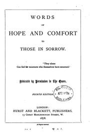 Cover of: Words of hope and comfort to those in sorrow [by J.E. Hare, ed. by L.Y. Powell] by J Esther Hare